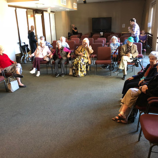 Audience entering for Devising Scene 5 Show at Friendship Manor