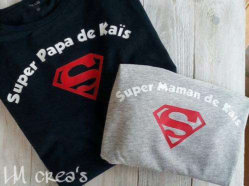 Tshirt Super Papa -Motif au choix !