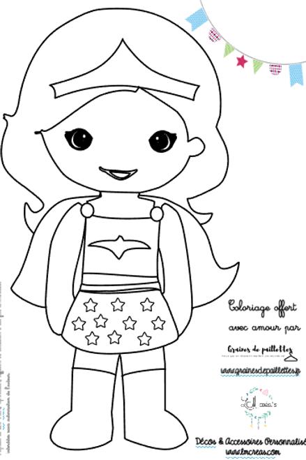 WonderGirl - Coloriage offert par LM Créa's