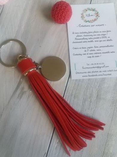 Porte Clef Pompon Rouge Personnalisé