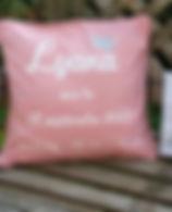 coussin de naissace, cadeau de naissance sur mesur, prsonnalisé, rose, ille, princesse, paillettes