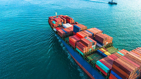 Aerial view container cargo ship, import