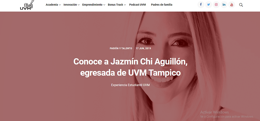 A note about Jazmin in the UVM México blog