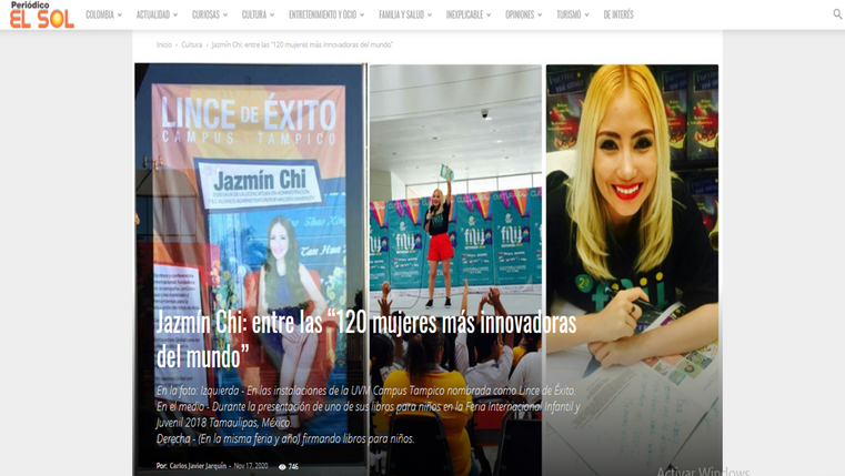 Named one of the 120 most innovative women in the world, Newspaper El Sol, Colombia