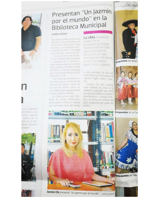 """Jazmín presents her Anthology of Poems """"A Jazmine around the world"""" in Mexico"""
