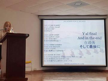 "Jazmín presenting her Anthology of Poems ""A Jasmine around the world"""