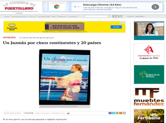 """SPAIN-News of the presentation of the anthology of poetry """"A Jasmine around the wNews of the presentation of the anthology of poetry """"A Jasmine around the world"""" in the newspaper """"La Comarca de Puertollano"""""""