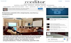 Jazmín giving a conference at Harvard University, Newspaper Reeditor, Spain