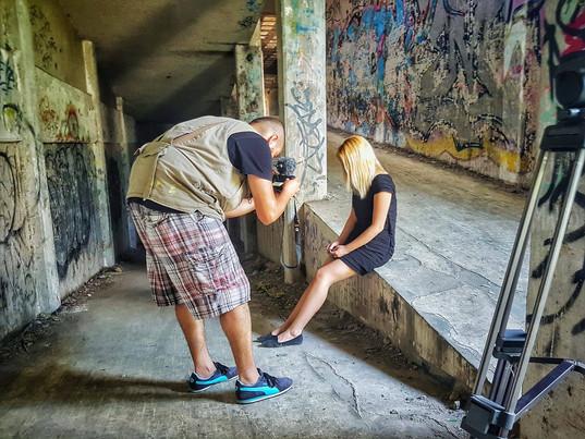 """Filming her video poem """"Guilt"""""""