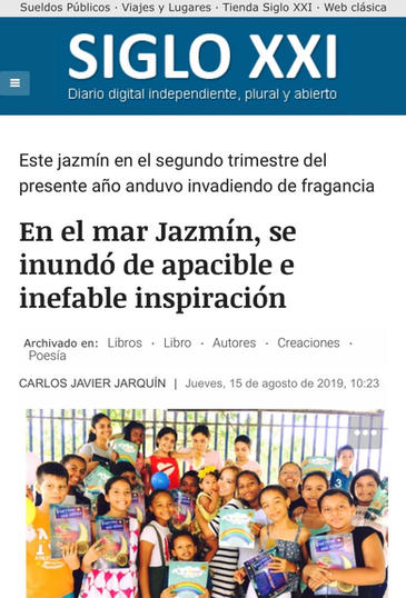 """SPAIN-News of the presentation of the anthology of poetry """"A Jasmine around the world"""" in the newspaper """"Siglo XXI"""""""