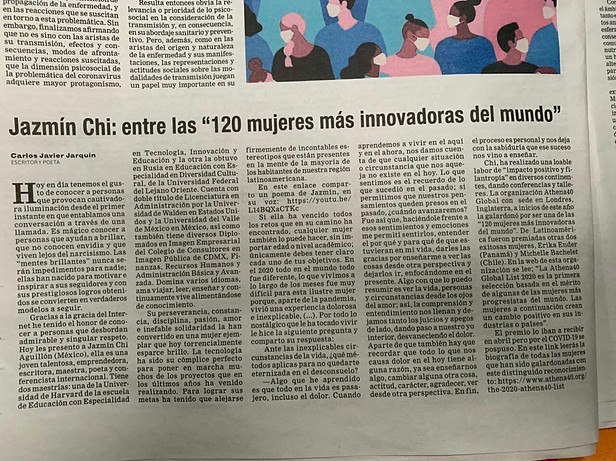 Jazmín as one of the 120 most innovative women in the world, Newspaper El Semanario Universidad, Costa Rica