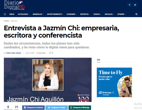 Interview to Jazmín in the Dominican Republic Newspaper Diario Digital