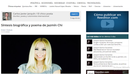 Biography of Jazmin Chi at the Reeditor Newspaper, Spain