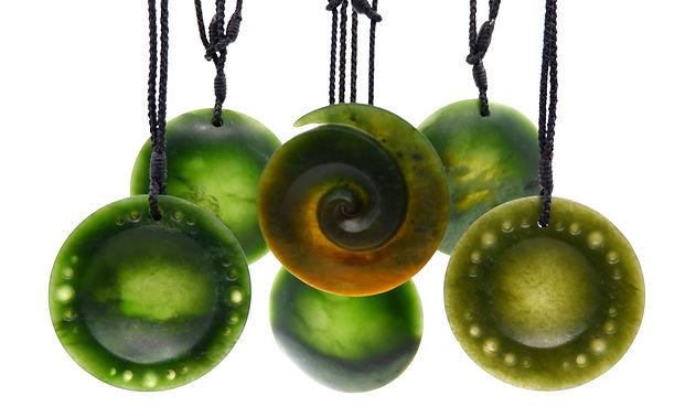 New Zealand Pounamu Koru and discs pendants