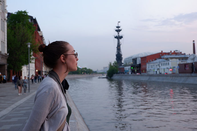 Mady in Russia, looking above the river in Mosco.