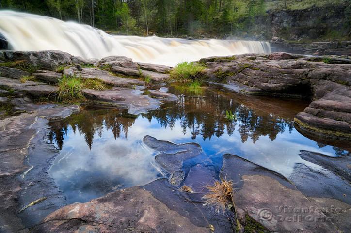 Water Pool and Waterfall (Fjätfallen • Särna, Dalarna, Sweden, June 2019)