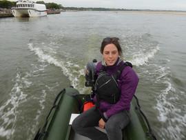 Woman steering Spearfish