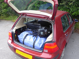 Spearfish 440 and motor in a hatchback
