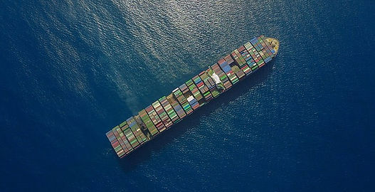 Aerial photo of cargo ship at sea
