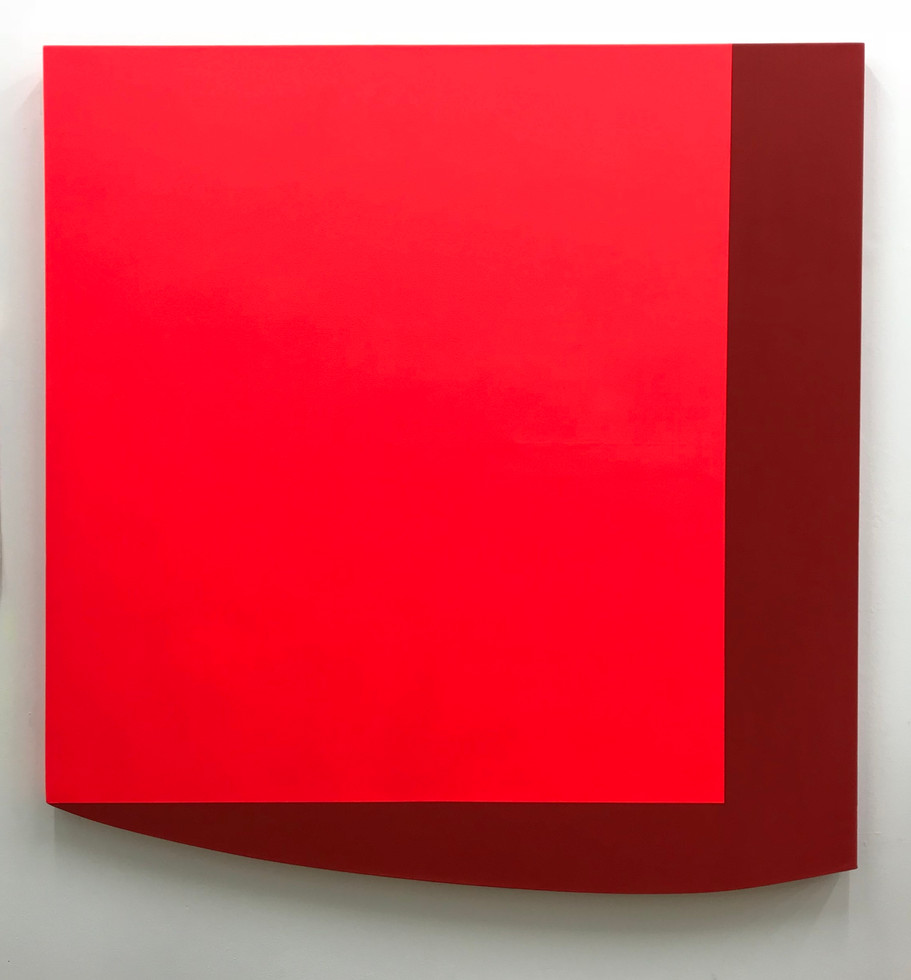 Fluorescent Red Square on Red