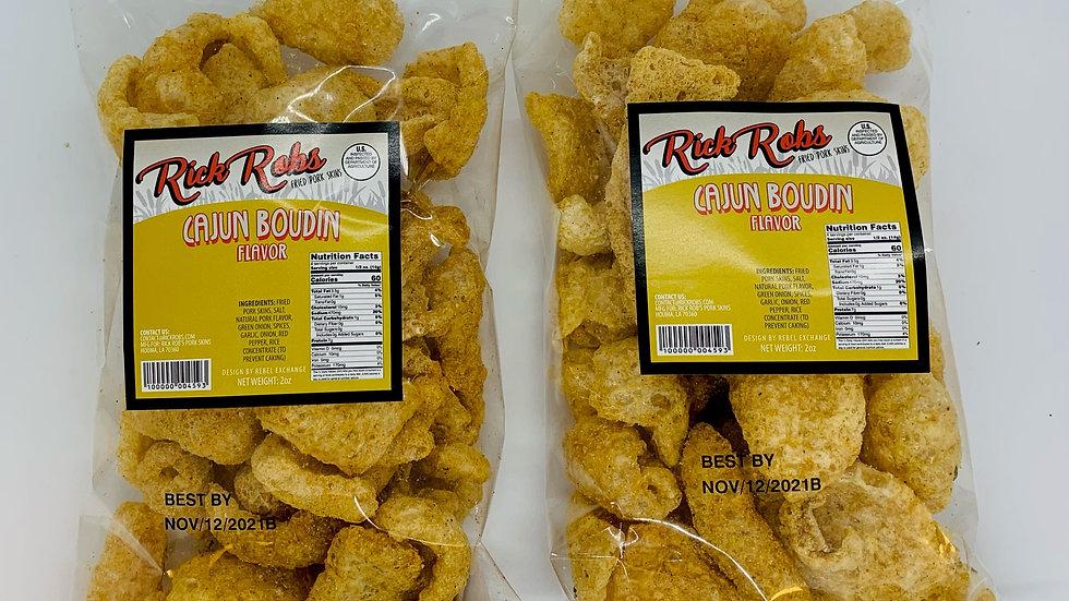 Rick Rob's Cajun Boudin Fried Pork Rinds (2 Bags)
