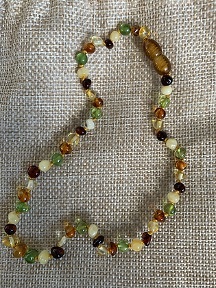Amber teething necklace - multi coloured