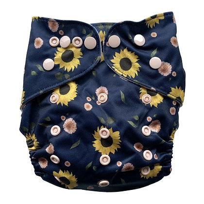 Bear and Moo Sunflowers Cloth Nappy