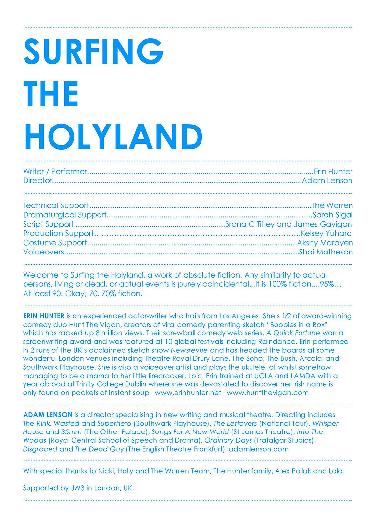 Surfing the Holyland Programme September