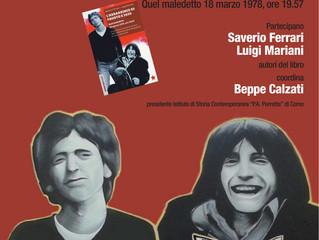 13 novembre/ Spazio Gloria/ Presentazione del volume L'Assassino di Fausto e Iaio