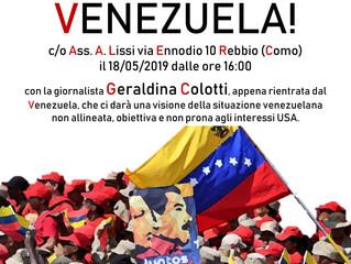 18 maggio/ Italia Cuba con Arci e Anpi/ Giù le mani dal Venezuela!