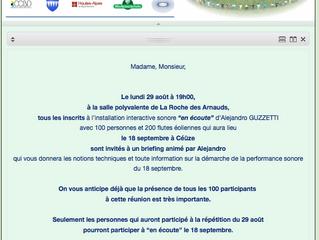 le 29 Août à 19h00 à la salle polyvalente de la Roche des Arnauds !