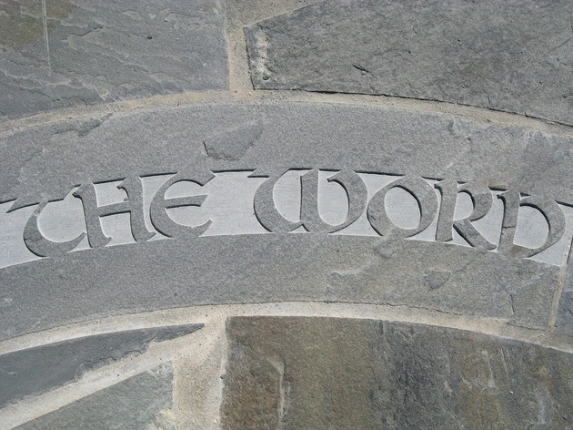 Detail from Carved Quote from Gospel of St. John