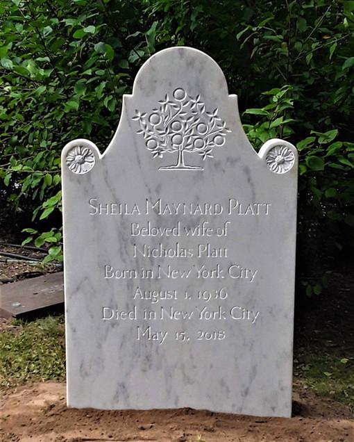 Platt Memorial, shaped marble