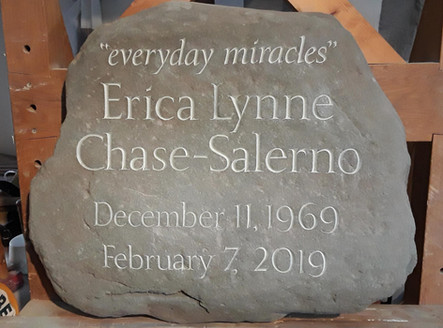 River stone memorial for a special woman