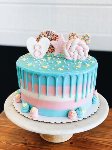 Blue and Pink Birthday cake