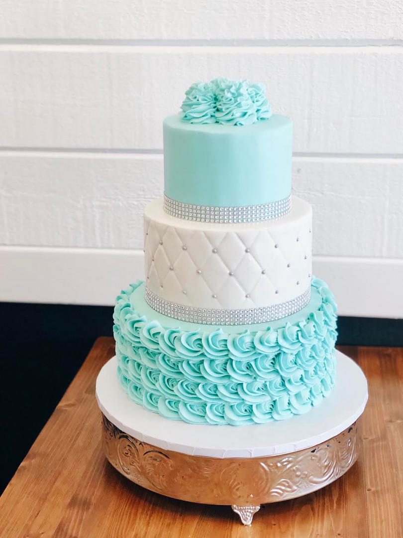 Three Tier Tiffany Birthday Cake
