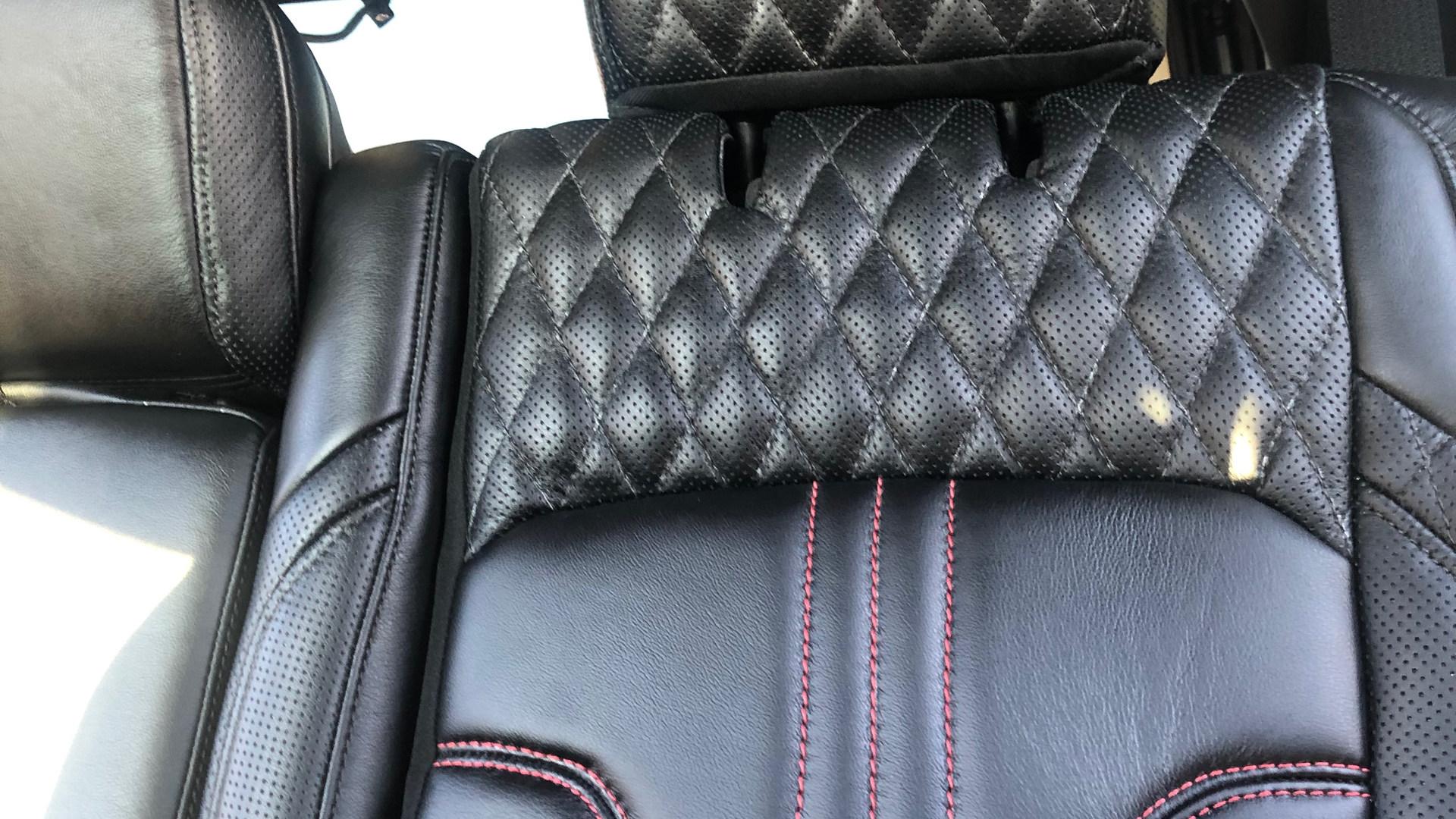 Custom leather with diamond stitch and red stitch