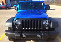 2015, 2016 Blue wrangler with blacked out grille, black leathe with blue contrast stitching, black wheels, katzkin, sport package