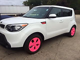 Pink rims, pnk emblems, pink leather for breast cancer awareness month.  Pink powder coated rims. think pink on any car, pink ribbon kia soul