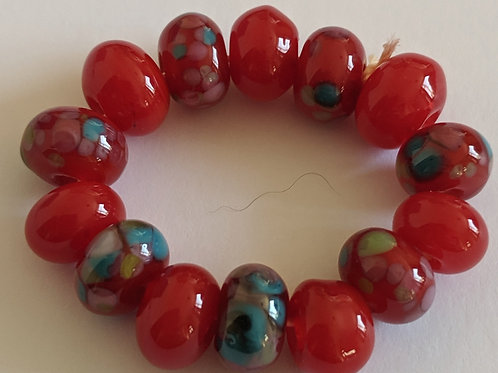 Handmade 14 Hearthrob Red and Pretty Frit Spacer Lampwork Beads
