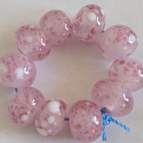 Handmade Translucent Pink with Multi Frit Spacer Lampwork Beads