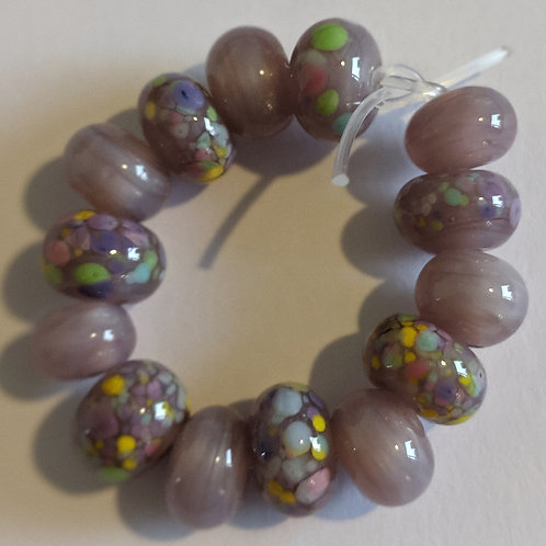 Handmade Mystic Lilac and Pretty Donut Sprinkle Frit Spacer Lampwork Beads