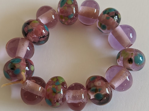 Handmade 14 Pink Champagne and Pretty Frit Spacer Lampwork Beads