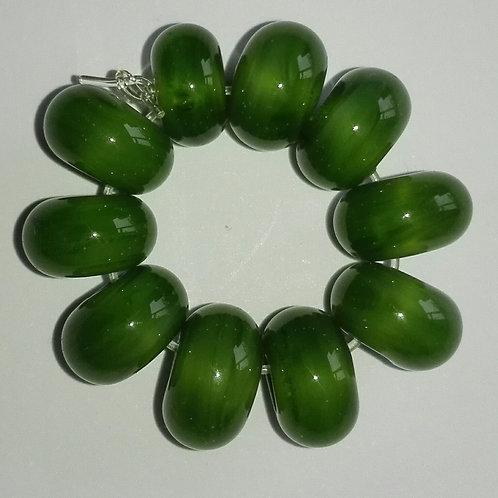 10 Mystic Green Spacer Lampwork Beads