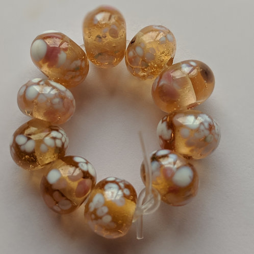 Handmade Peach with Pretty Multi Frit Spacer Lampwork