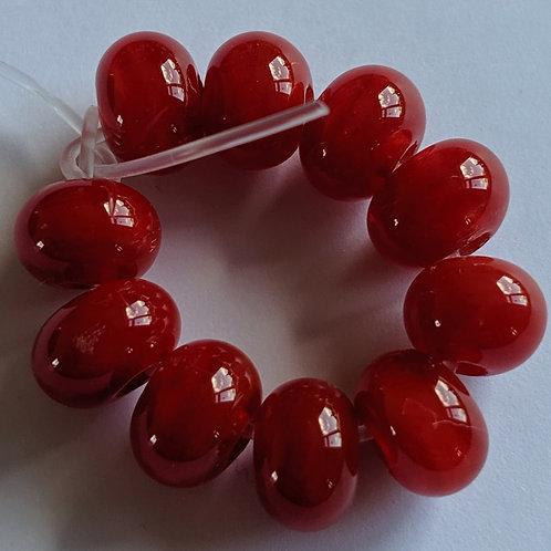 Handmade Red Spacer Lampwork Beads