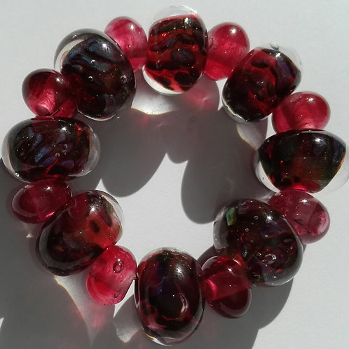 8 Encased Cranberry Pink with Multi Frit Handmade Lampwork Beads