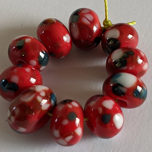 Handmade Red with Multi White Frit Spacer Lampwork Beads