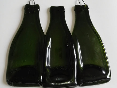 SLUMPED MELTED TRIO DARK GREEN SMALL PROCESSCO BOTTLE WALL HANGING GREAT TO DEC