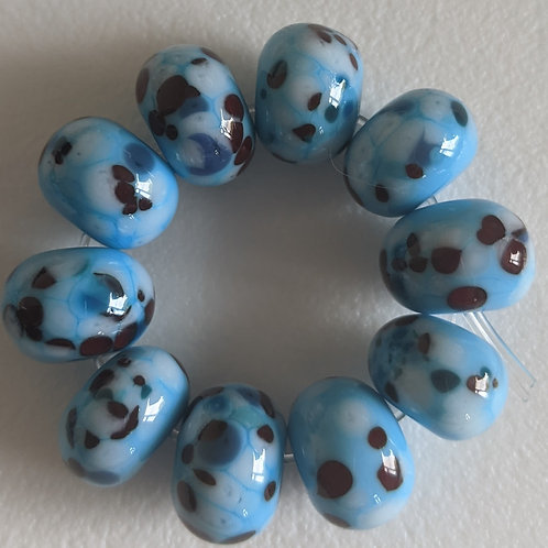 10 SKY BLUE WITH MULTI RED WHITE BLUE FRIT  L AMPWOR Be